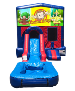 Curious George Mini Red & Blue Bounce House Combo w/ Single Lane Water Slide