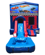 Hot Wheels Mini Red & Blue Bounce House Combo w/ Single Lane Water Slide