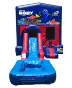 Finding Dory Mini Red & Blue Bounce House Combo w/ Single Lane Water Slide