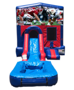 Alabama v. Auburn Mini Red & Blue Bounce House Combo w/ Single Lane Water Slide