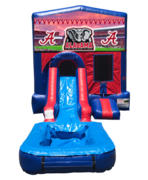 Alabama Mini Red & Blue Bounce House Combo w/ Single Lane Water Slide