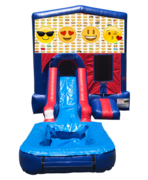 Emojis Mini Red & Blue Bounce House Combo w/ Single Lane Water Slide