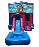 Moana Mini Red & Blue Bounce House Combo w/ Single Lane Water Slide