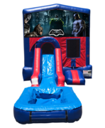 Batman Mini Red & Blue Bounce House Combo w/ Single Lane Water Slide