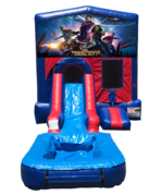 Guardians of the Galaxy Mini Red & Blue Bounce House Combo w/ Single Lane Water Slide