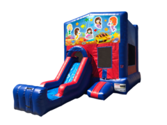 Mermaids Mini Red & Blue Bounce House Combo w/ Single Lane Dry Slide