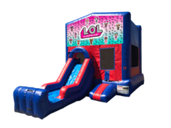 LOL Mini Red & Blue Bounce House Combo w/ Single Lane Dry Slide