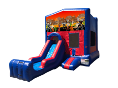 Cowboys Mini Red & Blue Bounce House Combo w/ Single Lane Dry Slide