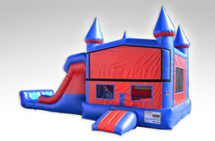 A Red and Blue Bounce House Combo w/Dual Lane Dry Slide