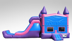 A Pink and Purple Bounce House Combo w/Single Lane Slide