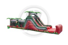 47 ft Red Crush Obstacle Course with Waterslide
