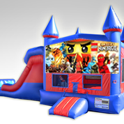 Lego Ninjago Red and Blue Bounce House Combo w/Dual Lane Dry Slide
