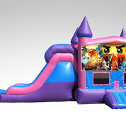 Lego Ninjago Pink and Purple Bounce House Combo w/Single Lane Dry Slide