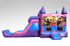 Lego Movie Pink and Purple Bounce House Combo w/Single Lane Dry Slide
