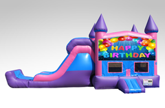 Happy Birthday Pink and Purple Bounce House Combo w/Single Lane Dry Slide