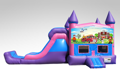 Fireman Pink and Purple Bounce House Combo w/Single Lane Dry Slide