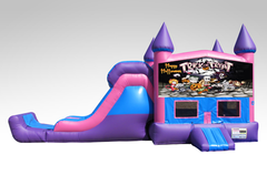 Halloween Pink and Purple Bounce House Combo w/Single Lane Dry Slide