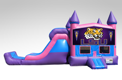 LSU Pink and Purple Bounce House Combo w/Single Lane Dry Slide