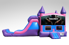 Call of Duty Pink and Purple Bounce House Combo w/Single Lane Dry Slide