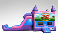 Daniel Tiger Pink and Purple Bounce House Combo w/Single Lane Dry Slide