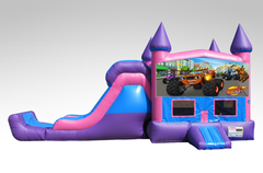 Blaze Pink and Purple Bounce House Combo w/Single Lane Dry Slide
