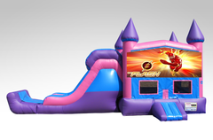 Flash Pink and Purple Bounce House Combo w/Single Lane Dry Slide