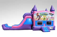 Disney Fairies Pink and Purple Bounce House Combo w/Single Lane Dry Slide