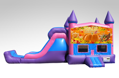 Happy Thanksgiving Pink and Purple Bounce House Combo w/Single Lane Dry Slide