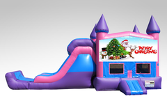 Merry Christmas Pink and Purple Bounce House Combo w/Single Lane Dry Slide