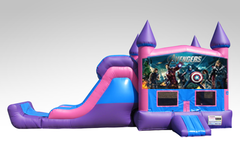 Avengers Pink and Purple Bounce House Combo w/Single Lane Dry Slide