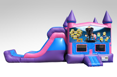 Despicable Me Pink and Purple Bounce House Combo w/Single Lane Dry Slide