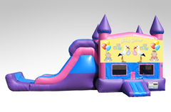 Baby Shower Pink and Purple Bounce House Combo w/Single Lane Dry Slide