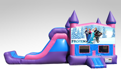 Disney Frozen Pink and Purple Bounce House Combo w/Single Lane Dry Slide
