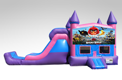 Angry Birds Pink and Purple Bounce House Combo w/Single Lane Dry Slide