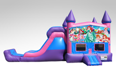 Little Mermaid Pink and Purple Bounce House Combo w/Single Lane Dry Slide