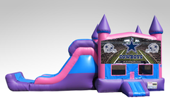 Dallas Cowboys Pink and Purple Bounce House Combo w/Single Lane Dry Slide