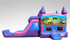Construction Trucks Pink and Purple Bounce House Combo w/Single Lane Dry Slide