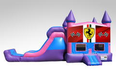 Ferrari Pink and Purple Bounce House Combo w/Single Lane Dry Slide