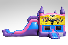 Lego Batman Pink and Purple Bounce House Combo w/Single Lane Dry Slide