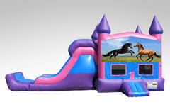 Horses Pink and Purple Bounce House Combo w/Single Lane Dry Slide