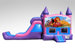 Lion King Pink and Purple Bounce House Combo w/Single Lane Dry Slide