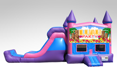 Luau Party Pink and Purple Bounce House Combo w/Single Lane Dry Slide