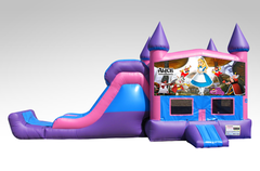 Alice in Wonderland Pink and Purple Bounce House Combo w/Single Lane Dry Slide