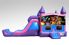 Five Nights at Freddy's Pink and Purple Bounce House Combo w/Single Lane Dry Slide