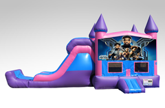 Black Panther Pink and Purple Bounce House Combo w/Single Lane Dry Slide