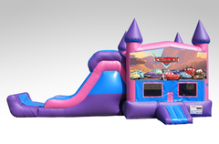 Cars Pink and Purple Bounce House Combo w/Single Lane Dry Slide