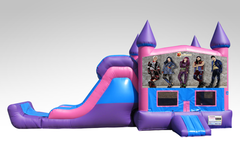 Disney Descendants Pink and Purple Bounce House Combo w/Single Lane Dry Slide