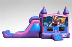 Iron man Pink and Purple Bounce House Combo w/Single Lane Dry Slide