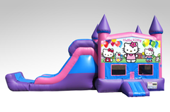 Hello Kitty Pink and Purple Bounce House Combo w/Single Lane Dry Slide