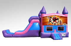 Incredibles Pink and Purple Bounce House Combo w/Single Lane Dry Slide